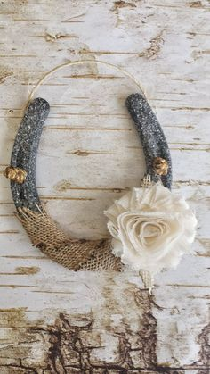 Shabby Chic Horseshoe, Burlap and Flower, Wedding Gift, Housewarming Gift, Glitter Horseshoe, Western Wall Hanging, Good Luck Horseshoe