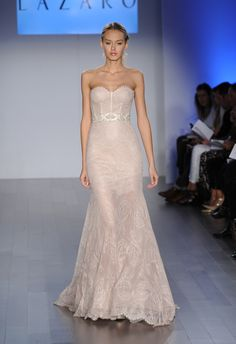Blush Mermaid Wedding Dress | Lazaro Wedding Dresses Spring 2015 | Kurt Wilberding | Blog.theknot.com
