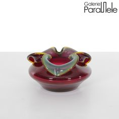 """Polish glass ashtray by the designer Czeslaw Zuber from the series """"osiolek"""". It was in the 1970s. It was produced by the manufacturer Barbara in Polanica-Zdrój."""