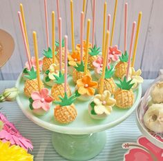 Pineapple cake pops from Spring Flamingo Birthday Party at Kara's Party Ideas. S… - Party Ideas Aloha Party, Moana Birthday Party, Hawaiian Birthday, Moana Party, Luau Birthday, Hawaiian Luau, Birthday Parties, Cake Birthday, Hawaiian Parties