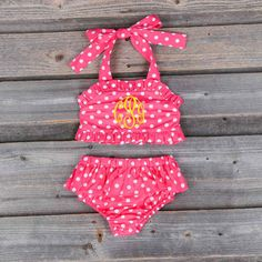 2pc Polka Dot Swimsuit Hot Pink - Sale Smocked Auctions