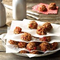 Cherry No-Bake Cookies Recipe -I've always loved my no-bake cookie recipe, but I was never able to place at the fair with them. So I mixed in some maraschino cherries, added a few drops of almond extract, and voila! We won a blue ribbon at the county fair in 2010. —Denise Wheeler, Newaygo, Michigan