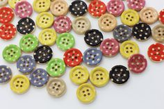10 Polka Dot Sew Through Wooden Button, Wood Buttons, Polka Dot Button, Children Button, Rainbow Button,Four Holes, Baby Button, 15mm