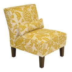 Canary Print Slipper Chair - Yellow
