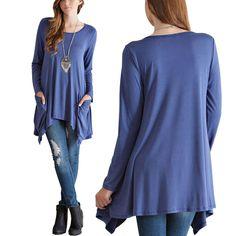 New Women's Loose Long Sleeve Cotton Casual Blouse Shirt Tops Fashion T-shirt 2017