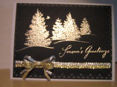 Stampin' Up! ... handmade Christmas card in black and gold .. ... gold embossed fir trees ... elegant look ... luv it!