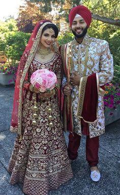 Custom made lehengas Inquiries ยั ย nivetasfashion @ gm . Indian Bridal Outfits, Indian Bridal Lehenga, Indian Bridal Fashion, Indian Dresses, Bridal Dresses, Pakistani Bridal Makeup, Punjabi Wedding Suit, Punjabi Bride, Punjabi Couple