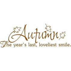 sweetnovember09:      Wall Quote Autumns Last Smile Wall Quotes ❤ liked on Polyvore