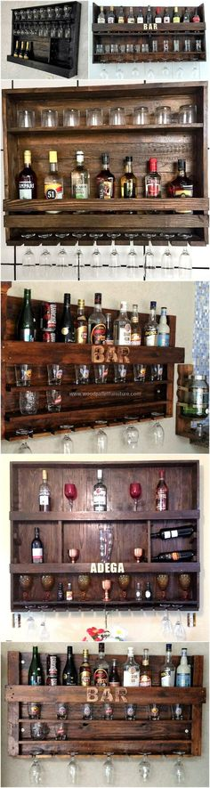 What about adding this great piece of artwork in your home's furnishing? Well, this is the best wooden pallet creation that we have specially designed for keeping your bar furniture needs. This reused pallet bar is all comprised of three shelving layers f