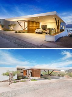 This home has a covered carport with a rammed earth feature wall, that is also brightly lit at night. Rammed Earth Homes, Rammed Earth Wall, Carport Canopy, Carport Garage, Residential Architecture, Amazing Architecture, Architecture Design, Car Porch Design, House Design