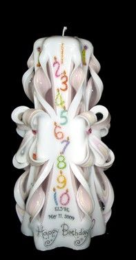 Hand-carved bows are sprinkled with fun birthday accents like hats & streamers, presents and balloons