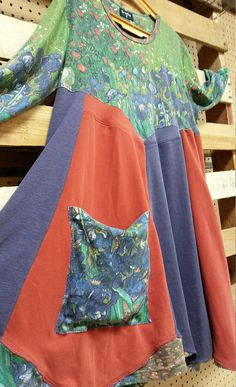Art to wear. Upcycled Van Gogh's Irises dress/frock