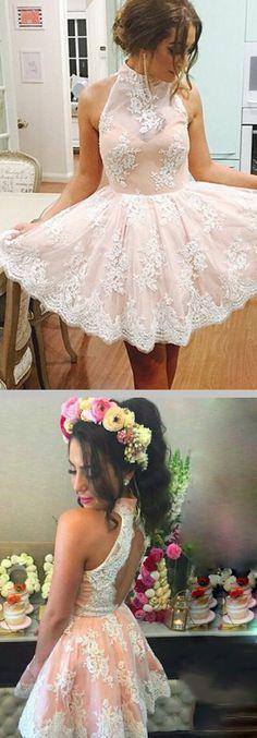 vintage sleeveless halter neckline a-line/princess lace overlay pearls chiffon short homecoming dress