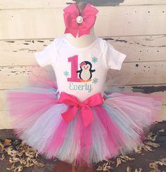 Hot Pink & Aqua Penguin 1st Birthday Tutu by CardsandMoorebyTerri