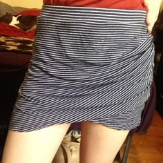 BCBG Max Azria Blue Striped Stretch Mini Skirt XS Made from cotton stretch, great material, front overlay that cinches on one side. No lining and is an XS! BCBG Skirts Mini