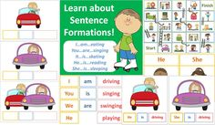 This package teaches children how to form sentences using subject pronouns (he, she, it they, I, you, we), verb-to-be (am, is, are) and –ing verbs (singing, driving, reading, etc.) The student will be able to learn how to make simple sentences, such as 'He is sleeping'.   http://www.teacherspayteachers.com/Product/Sentence-Formation-Subject-Pronoun-Verb-to-be-ing-Verb-45-Pages-781092