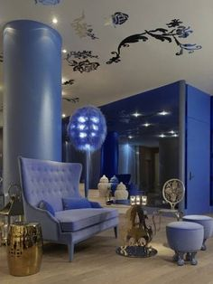 Mondrian SoHo: Beauty and the Beast-Inspired NY Hotel - My Modern Met Mondrian, Fantasy Rooms, Home Decoracion, Nyc Hotels, Luxury Hotels, Hotel Interiors, Blue Interiors, Hospitality Design, Best Interior