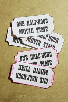 Movie Tickets - How to Keep the Kids from Fighting Over Who Picks the Movie (I Hope) -- Titus 2 Homemaker #t2hmkr