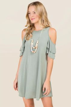 Emmaline Cold Shoulder Ruffle Dress