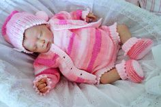 Hand knitted baby romper, cardigan/sweater, bootees and hat in multi-shades pink DK yarn. Size newb : Hand knitted baby romper, cardigan/sweater, bootees and hat in multi-shades pink DK yarn. Baby Girl Romper, Baby Girl Newborn, Reborn Dolls, Reborn Babies, Knitted Baby Outfits, Baptism Outfit, Pixie Styles, Premature Baby, Baby Blog