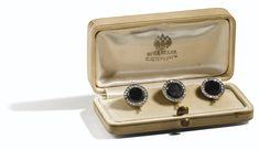 A SET OF THREE JEWELLED GOLD STUDS IN ORIGINAL BOX, SAINT-Petersbug, CIRCA 1910 FREDRICH Koechli