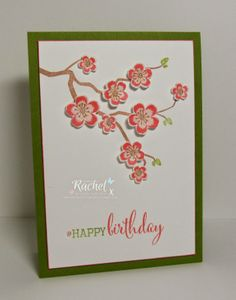 My Crafty Life: Just Peachy... :) Handmade card, Clearly Besotted Stamps, CBS, Love Blossoms, Cherry Blossoms, Clean and Simple, CAS