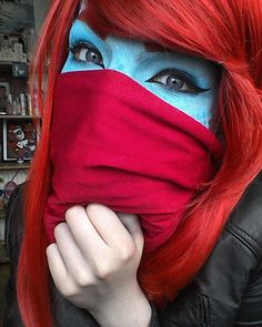 More Undertale Undyne Cosplay because I lov this picture <3  Up in Birmingham tomoz I'm gonna be tired. !  #undynecosplay #undyne #undertrash #undertalecosplay #undertale #cosplayer #cosplaymakeup #makeupnoob #makeup #makeuplover #undynecosplay #cosplay #gamercat39 #ganercat39cosplay #trash #blue #red #mermaidmakeup #mermaid #birmingham