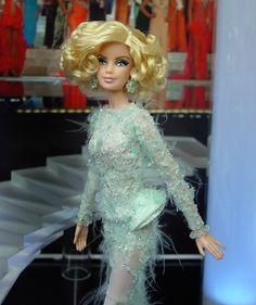 Miss Oklahoma 2013 - 2014 Grant-A-Wish Exclusive Barbie Miss, Girl Barbie, Miss Oklahoma, Tim Gunn, Sheer Gown, Organza Flowers, Mint, Silk Chiffon, Fashion Dolls