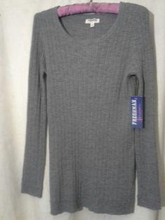 NWT! FRESHMAN FOREVER Long Sleeved Pullover Light Ribbed Sweater Sz L Grey #FreshmanForever #Pullover