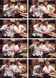 [GIFSET] Idjits <3 Jensen and Jared celebrating 10 years with a little help ;) - and is that Jensen's tie wrapped around his head?!