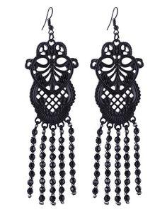 Black Lace Ohrringe Spitzenoptik Metall Ornament Earrings Barock Steampunk