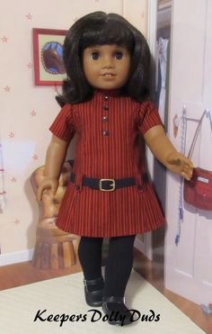 "https://flic.kr/p/N2c23S | 1960's belted Dress | A 1960s style revised version of the upcoming KeepersDollyDuds Simplicity pattern to be released late in 2016 or early 2017. Made to fit 18"" dolls such as American Girl Doll Melody."