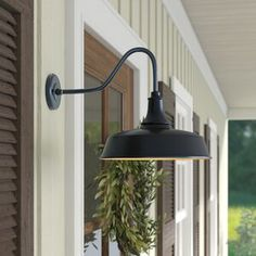 Andover Mills Clio Outdoor Barn Light Size: H x 15 W x 23 D, Fixture Finish: Dark Bronze/Gold Outdoor Barn Lighting, Garage Lighting, Outdoor Sconces, Outdoor Wall Lantern, Porch Lighting, Exterior Lighting, Outdoor Walls, Lighting Ideas, Gooseneck Lighting Outdoor