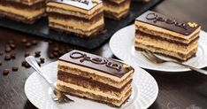 Opera Cake is a rich French Cake, buttercream and chocolate ganache and topped with chocolate glaze. For an elegant finish its name is written on top of each slice and is decorated with gold leaf. Super Torte, Opera Cake, Coffee Buttercream, French Cake, Chocolate Glaze, Almond Chocolate, Chocolate Coffee, Chocolate Chips, Dessert Cake Recipes