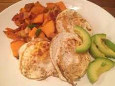 Make ahead to have during weekdays! Sweet Potato Hash, Eggs, and Avocado