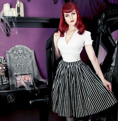 Jenny Skirt Victorian Stripes Laura Byrnes Sean Top White Pinup Couture Couture For Everybody Blouse White Skirt Stripes Laura Byrnes Pinup Girl Clothing