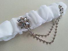 Vintage brooch crystal bridal garter ♡ Etsy listing at https://www.etsy.com/listing/181802096/blanche-elegant-bridal-garter-set-modern