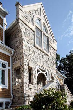 Grand Beach Michigan home stone entry, Milbury Architects, Ltd., Chicago, IL