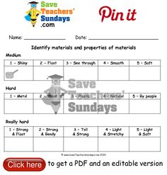 24 best Everyday Materials lesson plans, worksheets and teaching ...