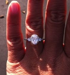 Real Ritani Engagement Rings - three-stone diamond halo engagement ring in 18k white gold