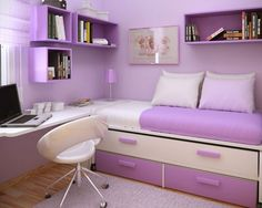 Space Saving for Kids Small Bedroom Design Ideas By Sergi Mengot Purple Minimalist Furniture in Small Girls Bedroom Design Idea By Sergi Mengot – Home Designs and Pictures Would go with a neutral color and small accent colors instead but nice idea :) Teenage Girl Bedroom Designs, Small Bedroom Designs, Teenage Girl Bedrooms, Small Room Design, Tween Girls, Teenage Room, Design Bedroom, Teenage Guys, Small Girls Bedrooms