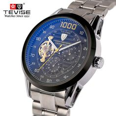 Automatic Mechanical Watch Full Steel Tourbillon Mens Date Luxury Watches Men #AutomaticMechanical #Casual
