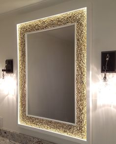 LITERAL: The use of this literal light grants ease when looking in the mirror. It also looks neat. Backlit Mirror, Lighted Vanity Mirror, Led Mirror, Mirror With Lights, Decor Home Living Room, Living Room Mirrors, Wooden Main Door Design, Powder Room Design, Custom Mirrors