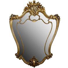 19th Century Italian Rococo Style Giltwood Wall Mirror or Console Mirror