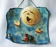 """автор : Светлана Виноградская; настенная картина; материал: керамика (фаянс); """"да когда вы уже помиритесь?"""""""