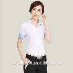 2016 wholeslae 100% organic cotton short sleeve slim fit ladies' office uniform shirt blouse