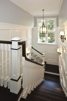 This is the color of my living room walls. Want to paint the handrail and stair treads just like this and do board and batten in a white like this. Painted Wood Stairs Design, Pictures, Remodel, Decor and Ideas Painted Wood Stairs, Wood Wall, Wooden Stairs, Blue Grey Walls, White Walls, Dark Wood Floors, Dark Hardwood, Wood Paneling, White Paneling