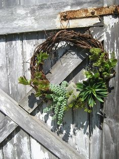 Rustic Grapevine Wreath with realistic faux by FireflyGardensByPam, $75.99