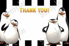 Penguins of Madagascar Birthday Invitation and Thank you card