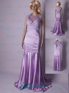 LJ179 lilac lanveder sheer illusion lace back mermaid prom dress